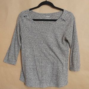 3/4 Sleeve Grey Speckled Scoop Neck (S) Express